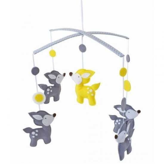 Alimrose Woodland Deer Mobile in Grey