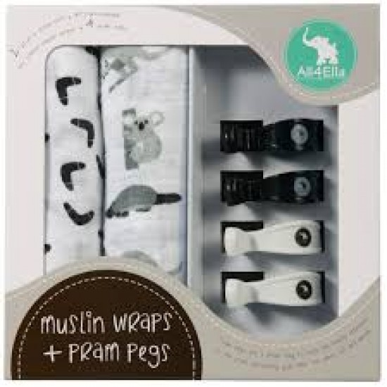All4Ella 2 Pack Wraps & 4 Pram Pegs