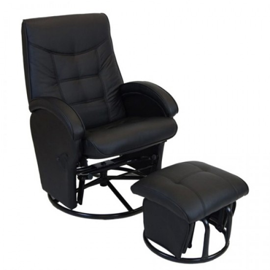Babyhood Diva Glider Feeding Chair & Ottoman - Black