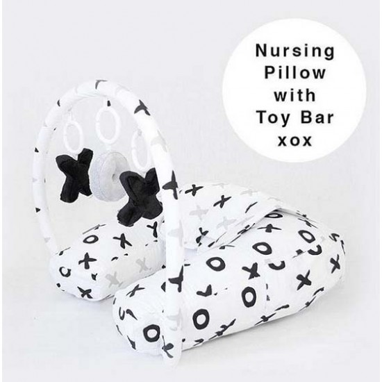 Babyhood Organic Nursing Pillow With Toy Bar Tic Tac Toe