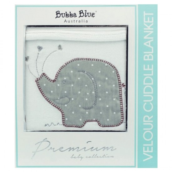 Bubba Blue Petit Elephant Cotton Velour Blanket