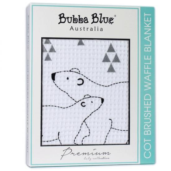 Bubba Blue Polar Bear Cot Brushed Waffle Blanket