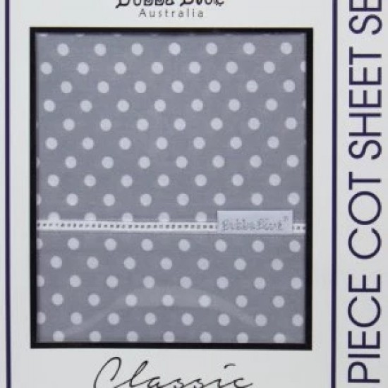 Bubba Blue Polka Dots 3pcs cot sheet set - Grey