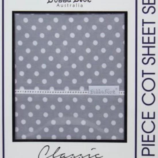 Bubba Blue Polka Dots 3pcs cot sheet set - Grey