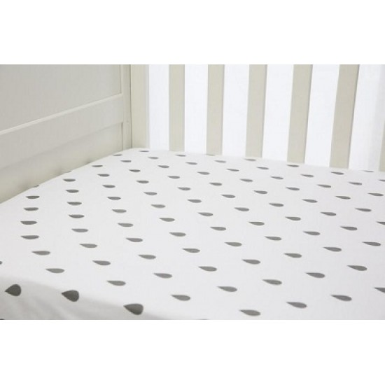 Lil Fraser 1 Piece Fitted Cot Sheet - Grey Raindrops