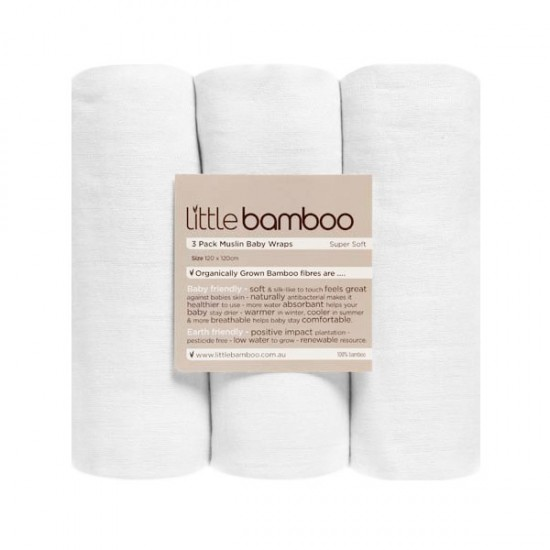Little Bamboo - 100% Bamboo Muslin Baby Wraps - 3 pack