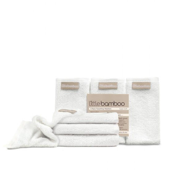 Little Bamboo 3 Pack Towelling Wash Cloths