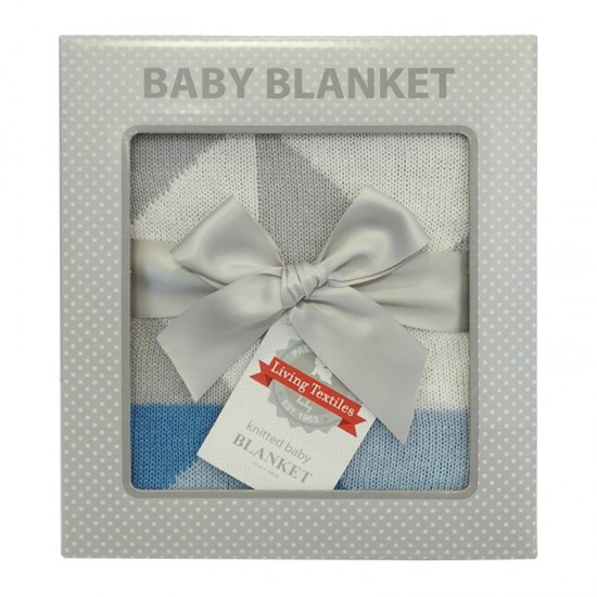 living textile knitted blanket - Nordic Blue