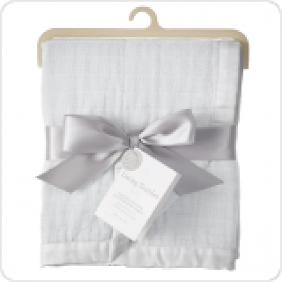 Living Textile Muslin textured blanket - White
