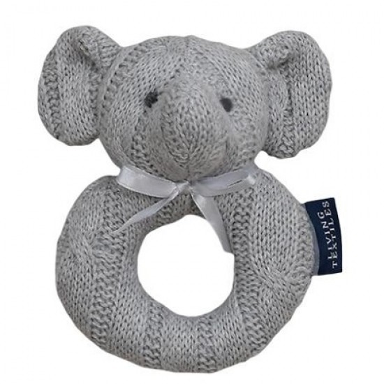Living Textiles Cable Knit Rattle - Grey Elephant