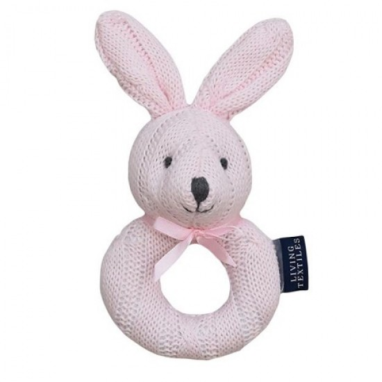 Living Textiles Cable Knit Rattle - Pink Bunny