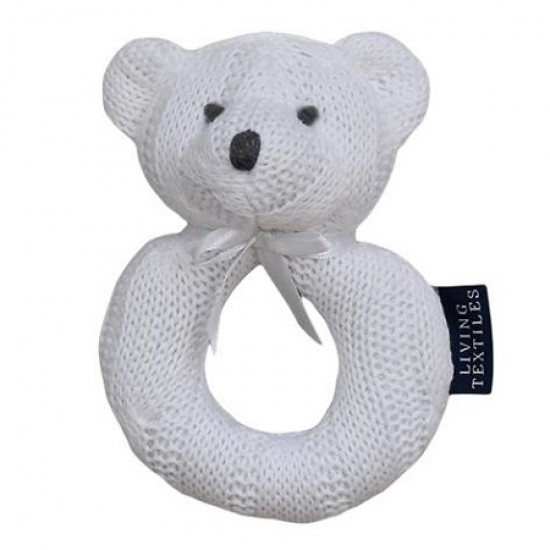 Living Textiles Cable Knit Rattle - White Bear