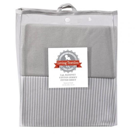 iving Textiles Jersey Bassinet Fitted Sheets 2pk Grey Melange/Stripe