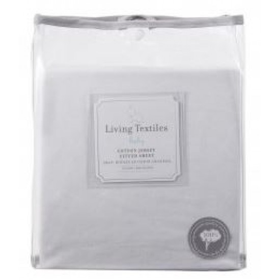 Living Textiles jersey Cot Fitted Sheet - White