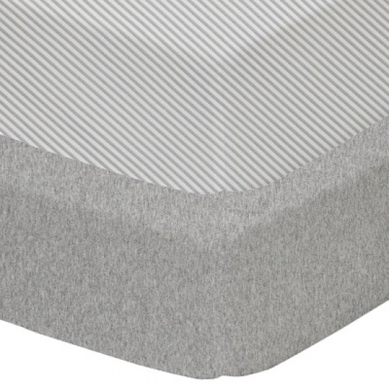 Living Textiles Jersey COT Fitted Sheets 2pk - Grey Strip/Melange