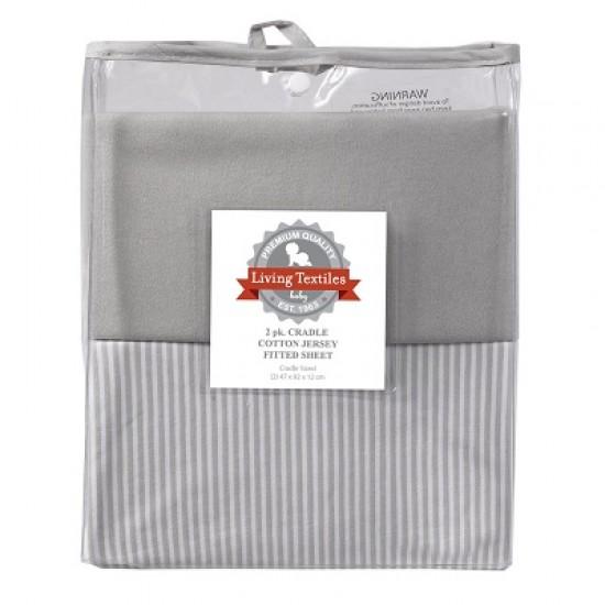 Living Textiles Jersey Cradle Fitted Sheet Grey Melange/Stripe