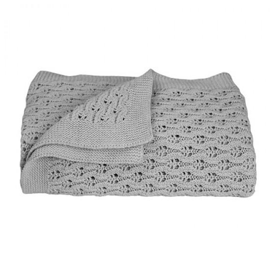 Living Textiles Lattice Baby Shawl - Grey