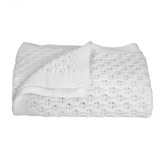 Living Textiles Lattice Baby Shawl - White