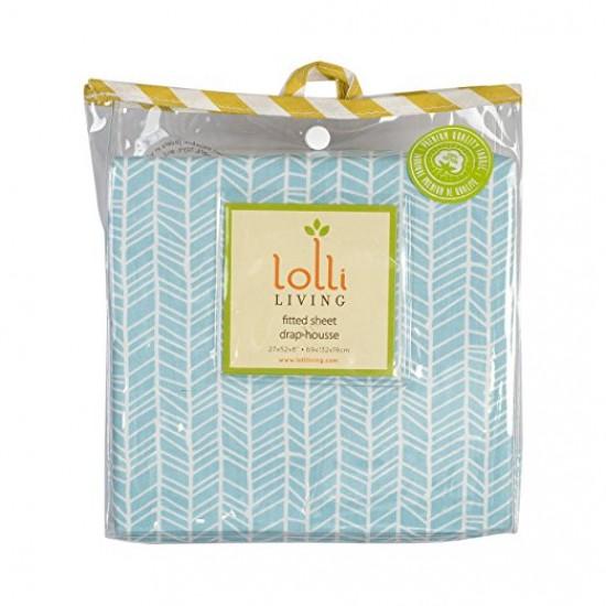 Lolli Living Fitted Sheet - Aqua Herringbone