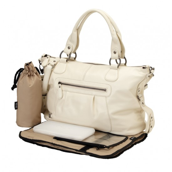 OiOi Ivory shrunken Leather Slouch Tote Diaper Bag (6501)