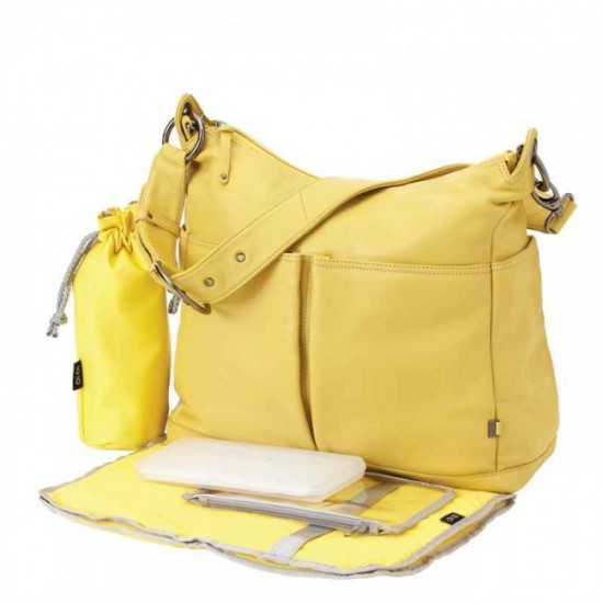 OiOi Lemon Curry Two Pocket Leather Hobo Nappy Bag