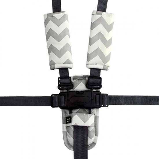 Outlook Pram Harness Covers Set - Grey Chevron