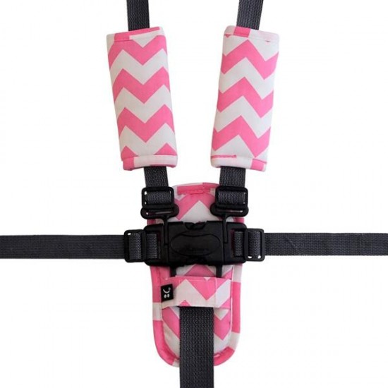 Outlook Pram Harness Covers Set - Pink Chevron