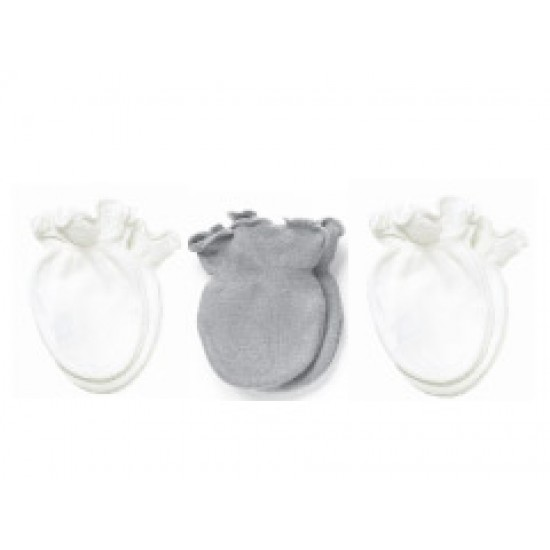 Playette Essential 3pk Preemie Mittens - Grey / White