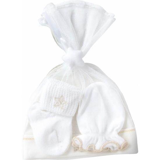 Playette Newborn Cap Mitten and Sock set White