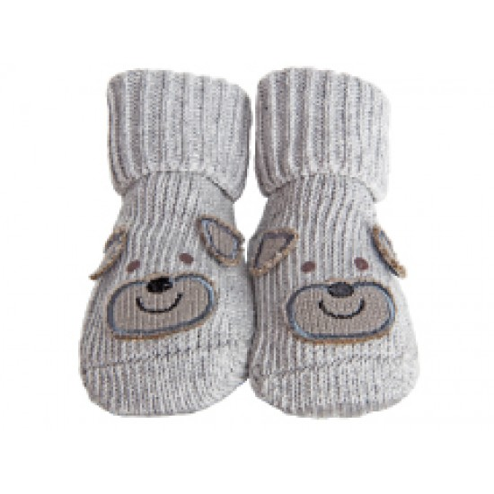Playette Novelty Bootie Socks 0-6 months - Grey Puppy
