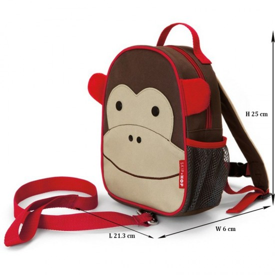 Skip Hop Zoo-let Mini Backpack With Rein- Monkey