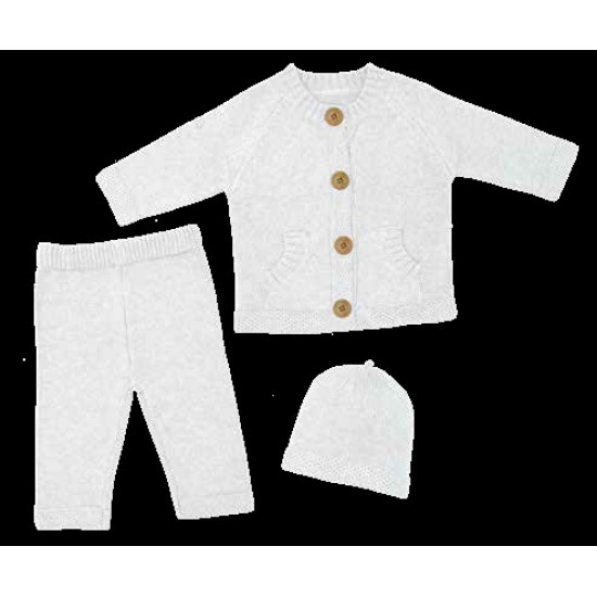 Living Textiles 3pc Button Knitted Cardigan Set