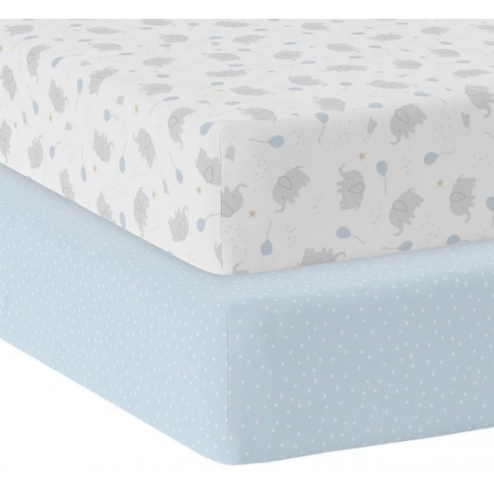 Living Textiles Jersey Fitted Sheet 2pk - Mason/Blue Dots