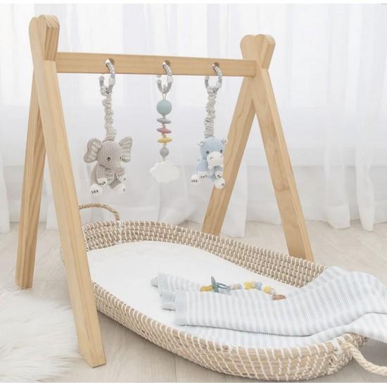Living Textiles Stroller Toys 2pk - Elephant & Hippo