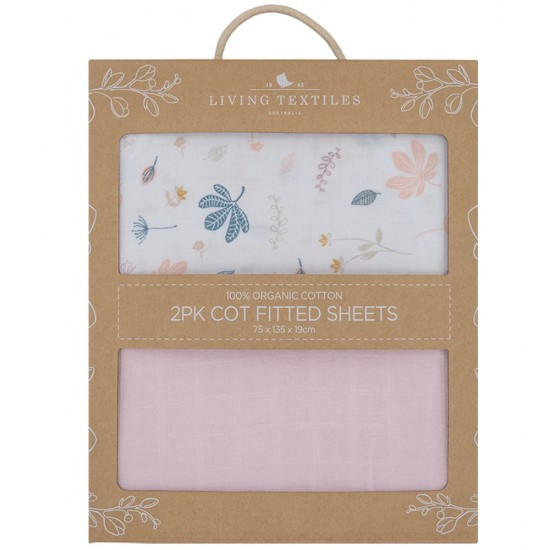 Living Textiles Organic Muslin COT Fitted Sheets 2pk