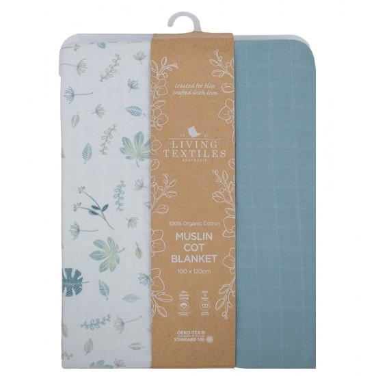 Living Textiles Organic Muslin Cot Blanket