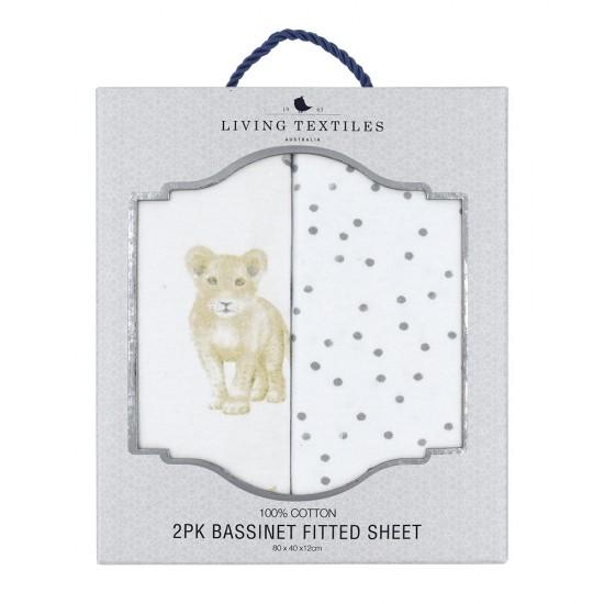 Living Textiles 2-pk Jersey Bassinet Fitted Sheets - Savanna Babies