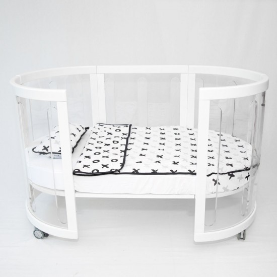 Amani Bebe Organic Quilt and Pillow Set - Tic Tac Toe