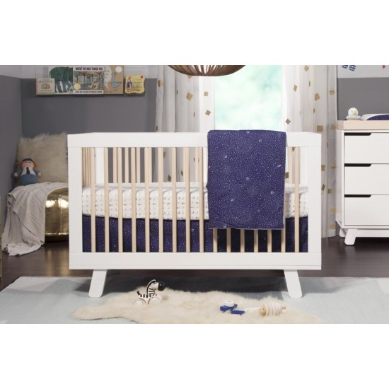 Babyletto Hudson 3 in 1 Cot - White/Washed Natural