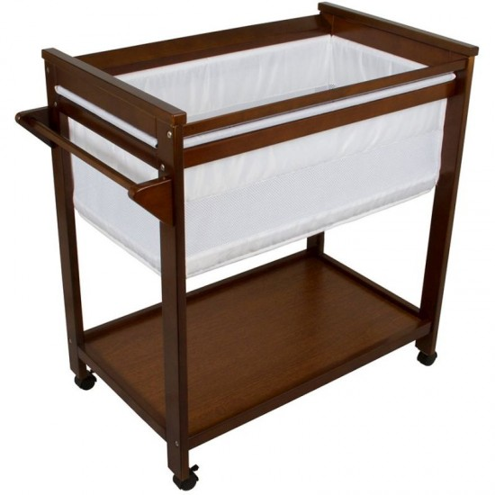 Bebe Care Wooden Baby Bassinet Crib in Walnut