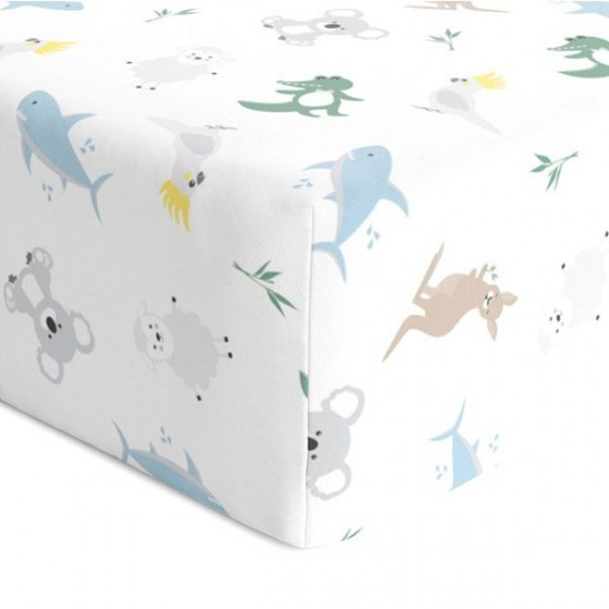 Bubba Blue Aussie Animals Jersey Cot Fitted Sheet