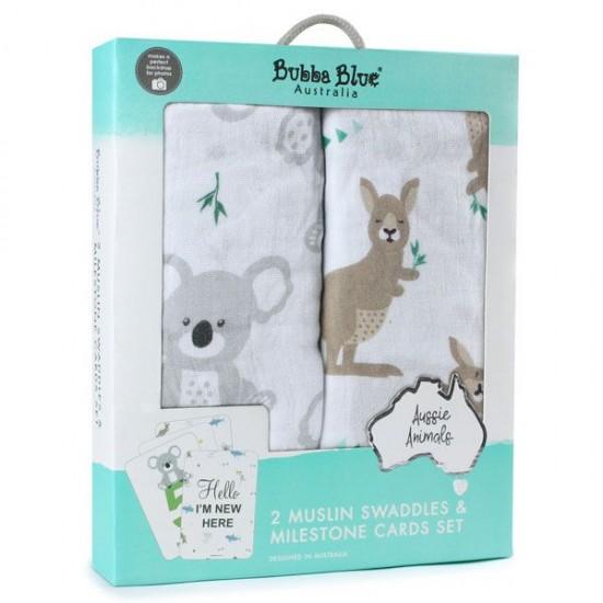 Bubba Blue Aussie Animals Muslin Wraps 2pk & Milestone Cards