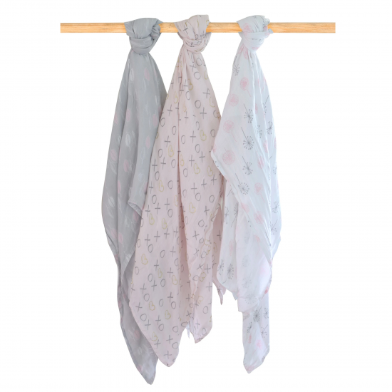 Bubba Blue Bamboo Muslin Swaddle Wraps 3pk - Pink Bloom