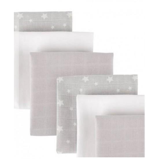 Cuddleco Organic Muslin Squares - Grey star