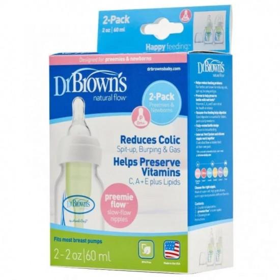Dr Browns Narrow Neck Feeding Bottle 60ml 2pk - Preemie Teat