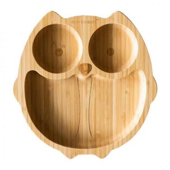 Eco Rascals Organic Bamboo Suction Plate - Owl