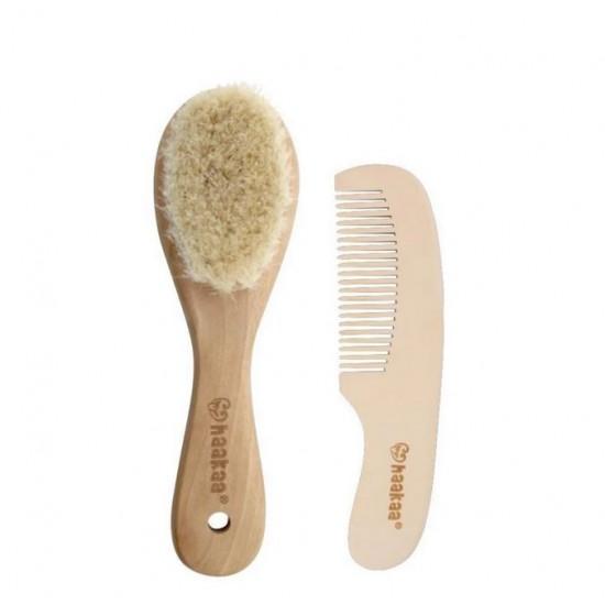 Haakaa Goat Wool Wooden Baby Hair Brush & Comb Set