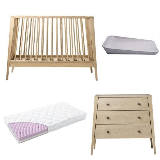 Leander Linea Cot + Dresser + Mattress + Matty