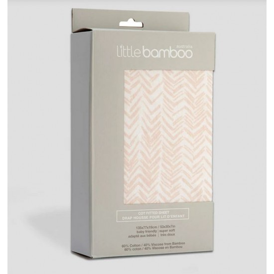 Little Bamboo Jersey Cot Fitted Sheets - Herringbone Dusty Pink