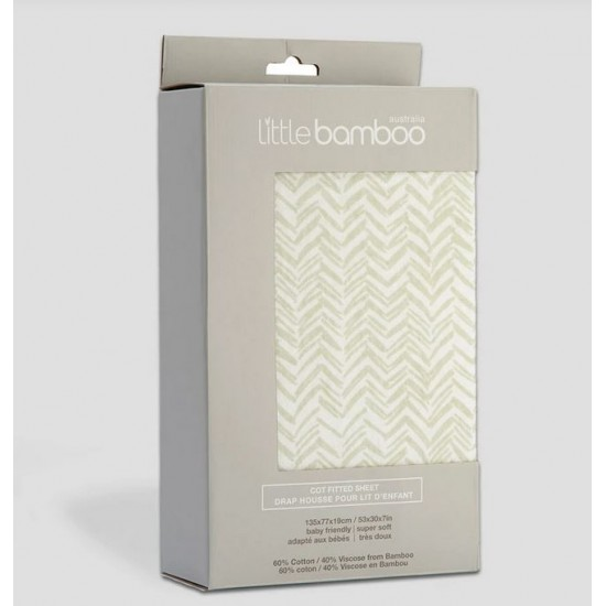 Little Bamboo Jersey Cot Fitted Sheets - Herringbone Whisper